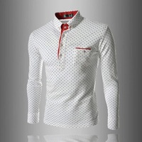 2014 new British fashion male money wave point Men's casual long-sleeved POLO unlined upper garment shirt