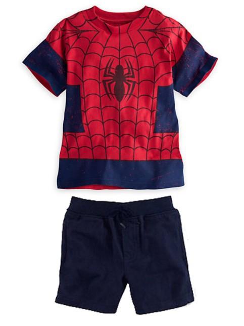 2014 New Children's fashion boys SpiderMan short sleeve t shirt + shorts 2pcs suit boy casual clothing set baby brand wear 6set(China (Mainland))