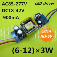 Free shipping+5pcs/lot.6-12*3W led driver, AC85-277V,0.9A driver,18W/21W/24W/27W/30W/33W/36W lamp driver .3 parallel driver