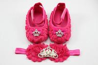 FUSHIA shabby flower baby shoes  headband with crown set Christening and baptism crib shoes newborn shoes princess shoes1set/lot