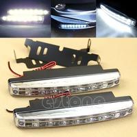 Free Shipping New 2Pcs Car Daytime Running Lights 8 LED DRL Daylight Kit Super White 12V DC Head Lamp-PY