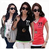 2014 New women's fashion apparel slim letter short sleeve fashion v-neck t-shirt women cotton blouses & shirts free shipping