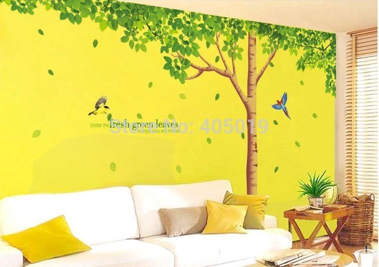 "Free Express 330x200cm (1306""x79"") XY1098ABC Green Tree Wall Stickers Home Decor 3pcs=1set Cute Removable DIY Bedroom Wallpaper(China (Mainland))"