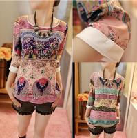 Fashion 2015 Vintage chiffon print harajuku women t-shirt Europe style casual plus size blouses elegant loose t shirts 8572