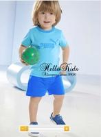 Retail Hot Sale Kids Summer Clothing Set Boys Clothes 2 pcs Short T Shirt Blue Shorts Clothing Suit Child Sports Summer Clothes