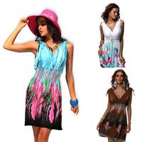 New European Bohemian Fashion Women Floral Print Painting Sexy Dress Sleeveless Novelty Dress Summer Wear 2014 Women Dresses