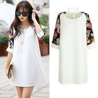 Fashion White Chiffon Patchwork Floral Print Short Sleeve Brief Pregnant Women's Maternity Dress/Dresses Clothes Plus Size M-XL