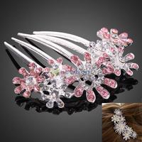 Korean Jewelry Elegant Pink Crystal Rhinestone Flower Headwear Hair Comb S7NF