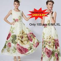 Party Dresses Time-limited Top Fasion None Vestido De Festa Women Summer Dresses 2014 Flower Printed Chiffon Bohemian Long Dress