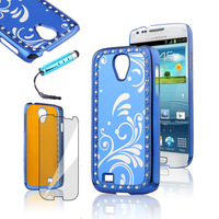 Glitter Blue Hard Back Cover Protective Shell Skin Casefor Samsung Galaxy S4  For Samsung I9500 Free Shipping