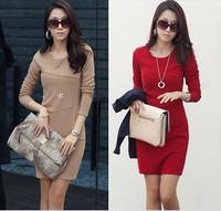 2014 spring plus size slim hip skirt elegant long-sleeve dress slim waist