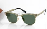 2014 New Style Brand Name Sunglass Men's/Women's Fashion 3507 CLUBMASTER ALUMINUM Sunglass Gold Frame Green Lens 51mm