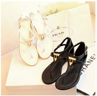 2014 vintage summer flat sandals triangle metal women's shoes belt clip flip-flop shoes and bags black and white