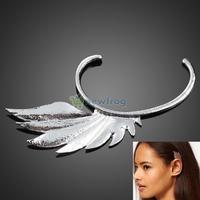 Fashion European Retro Silver Metal Wing Ear Hook Earring Non Pierced Ears S7NF