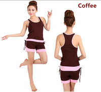 M-XXL Coffee Solid Color Women Yoga Suit New 2014 Vest Tops + Shorts Yoga Set Fitness Clothing Workout Clothes Dance Wear