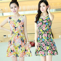 23 Color Sale Free Shipping Summer Dress 2014 New Fashion Korean Style Chiffon Print Sleeveless Casual Short Dresses X1053