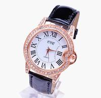 New Fashion 3 Colors Ladies Leather Crystal Diamond Rhinestone Watches Women Dress Quartz Wristwatch Hours for women