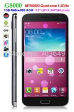 """estrella kingelon g8000 mtk6582 quad core 1.3 ghz 3g smartphone android 4.2 1gb 4gb rom ram 5.5"""" gps pantalla qhd gesto de detección(Hong Kong)"""