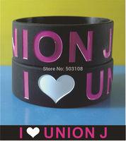 I Love Union J silicone wristbands,free shipping