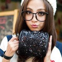 women leather handbags Handbags black sequined holding a small camera bag retro bag diagonal package women messenger bag