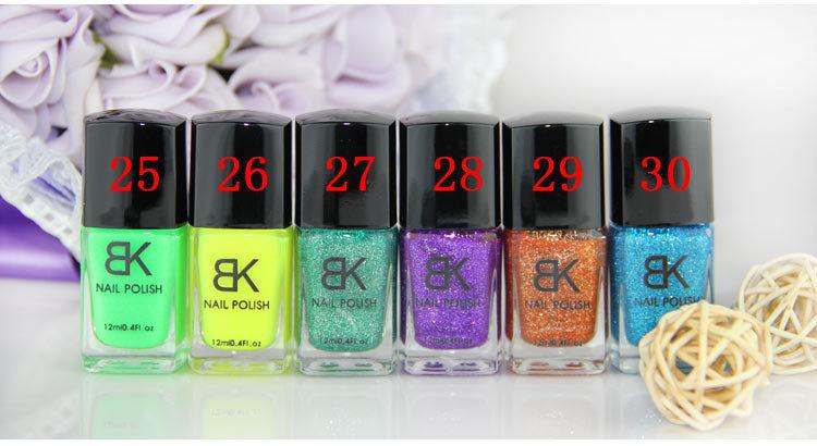 Fast dry BK brand crystal Sand Nail Polish 12ml 30 colors available No contain toluene formaldehyde DBP 12PCS(China (Mainland))
