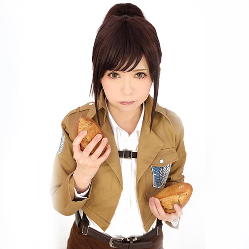 Attack On Titan Sasha Blouse Anime Short Auburn Brown Cosplay Wig + Ponytail(China (Mainland))