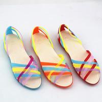 2014 Hole Shoes Women'S Colorful Open Toe Sandals Female Summer Sandals Flat Low Platform Sandals