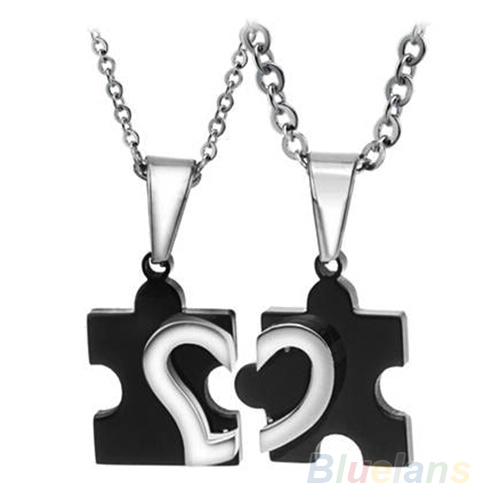 1 Pair 2014 New Men s Women s Couple Lovers Stainless Steel Love Heart Puzzle Necklaces