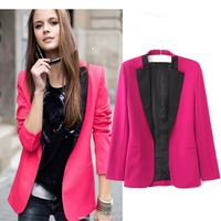 Free shipping new 2014 spring and autumn plus size women blazers suit Hitz Rose Red black casual suit jacket # 6613