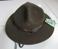 100% wool felt military hats us marine cap original single cadet hat new wool Large brim 7.6cm Army US Marine Corps Hat