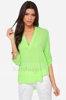 2014 women Chiffon Blouse Lime green V-neck long-sleeved volumes long and short loop before cufflinks chiffon shirt blouse