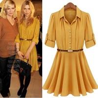 Hot Sale New 2014 Spring Summer Women Fashion Chiffon Dress College Desigual Casual Brand Dress Plus Size Vestidos Free Shipping