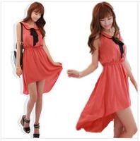 Summer Women Dress 2014 Swallowtail Butterfly Knot Sleeveless Chiffon Dress MR1-9