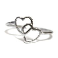 Hot Selling Double Heart Ring Gold/Silver/Rose Gold Vintage Engagement Ring for Women Jewelry Free Shipping