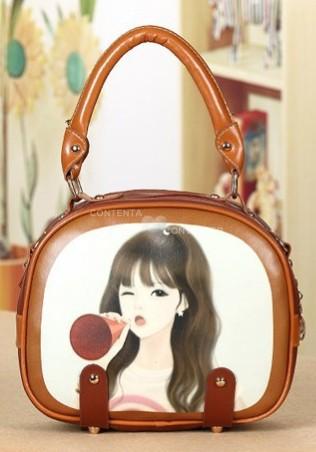 Vintage bags 2015 new ladies retro PU leather small handbag Cartoon sweet girl cylindrical handbag Cute shoulder bag women(China (Mainland))