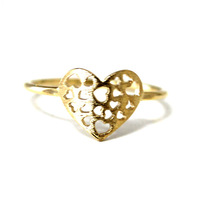 2014 Women Wedding Bague 18k Gold Plated Love Heart Rings Delicacy Knuckle Ring
