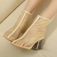 New 2013 thick heels pointed toe zipper Net cloth transparent shoes woman