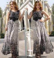 Free Shipping Drop shipping!Factory Wholesales Fashion superior quality big pendulum Wave point Long Chiffon Dress
