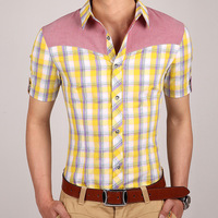 New 2014 Summer Casual Men Shirt  High Quality Slim 100%Cotton Camisa Masculina