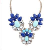 Fashion Western statement elegant gem droplets Rinestones Flower choker Pendant Chain necklace jewelry XL-120