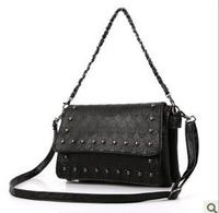 2014 New Fashion Women PU skull rivet Messenger bag handbag hand caught chain Shoulder messenger bags for women high quality