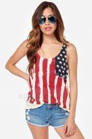 2014 women t-shirt American flag printed chiffon knit stitching folds back sleeveless T-shirt girl