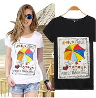 2014 New Fashion Summer Multicolour Umbrella Bronzier Short-sleeve Women's Slim Cotton T-shirts