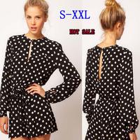2014 new fashion women black polka dot Jumpsuit long sleeve open back casual mini dresses jumpsuit shorts XS-XXL WF-579
