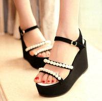 Free Shipping,Pearl High Heel Wedge Platform #V1 Fashion Sandals,US 4-8.5,Womens/Ladies Shoes