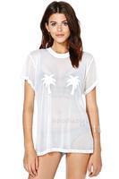 2014 women t-shirt Summer palm pattern flocking female perspective short-sleeved T-shirt