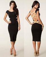 The new sexy backless dresses hot sale 2014 season bind belt splicing dress dress women's new fashion Free shipping