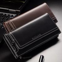 2014 New Hot-sales Luxury Brand Wallet Men 100% Genuine Leather Wallet Men's Wallet  Business Clutch Bag Black Brown Color