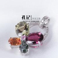 Fashion butterfly tourmaline 925 pure silver inlaying pendant natural tourmaline pendant