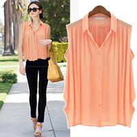 The new summer 2014 large size ladies' leisure loose sleeveless chiffon unlined upper garment of S/M/L/XL/XXL XXXL